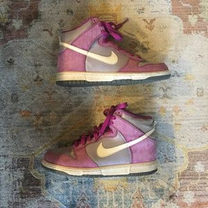 Nike High Top Dunks Sneakers 8 Pink Grey White